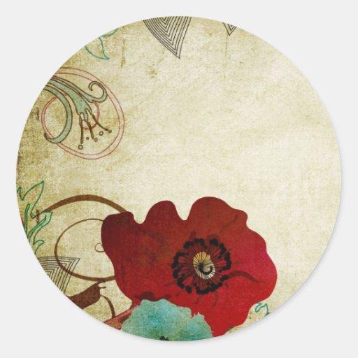 Pegatina de las amapolas del vintage