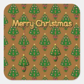 Pegatina de las Felices Navidad con los árboles de
