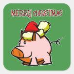 Pegatina de las Felices Navidad del cerdo