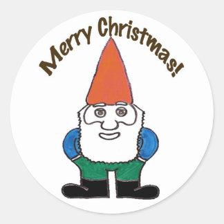 Pegatina de las Felices Navidad del gnomo de Santa