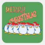 Pegatina de las Felices Navidad del pingüino