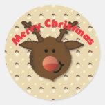 Pegatina de las Felices Navidad del reno