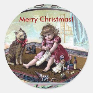 Pegatina de las Felices Navidad del vintage