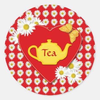 Pegatina de las margaritas de la fiesta del té de