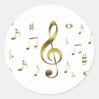 Pegatina de las notas musicales del oro