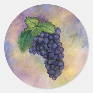Pegatina de las uvas de vino del pinot negro