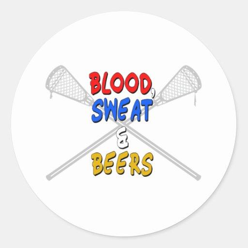 Pegatina de LAX BloodSweatBeers de la forma de Pegatina Redonda