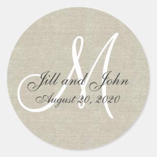 Pegatina de lino del favor del boda del monograma