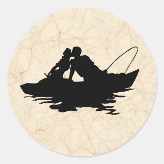 Pegatina de los amantes de la pesca del vintage