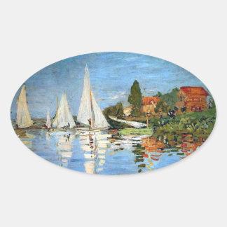 Pegatina de los barcos del impresionismo de Monet