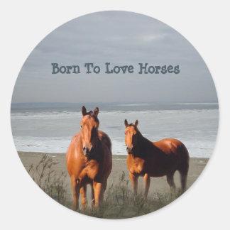 Pegatina de los caballos de la playa