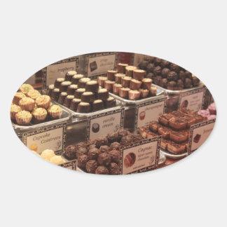 Pegatina de los chocolates del mercado del navidad