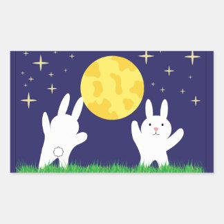 Pegatina de los conejitos de la luna