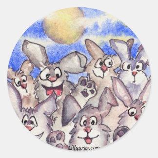 Pegatina de los conejos de la Luna Llena