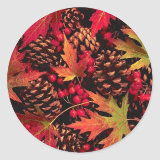 Pegatina de los conos y de las hojas del pino