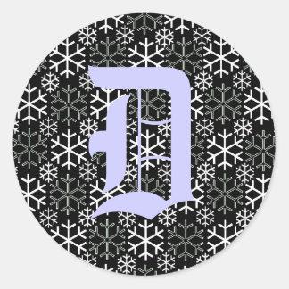 pegatina de los copos de nieve de la letra D del