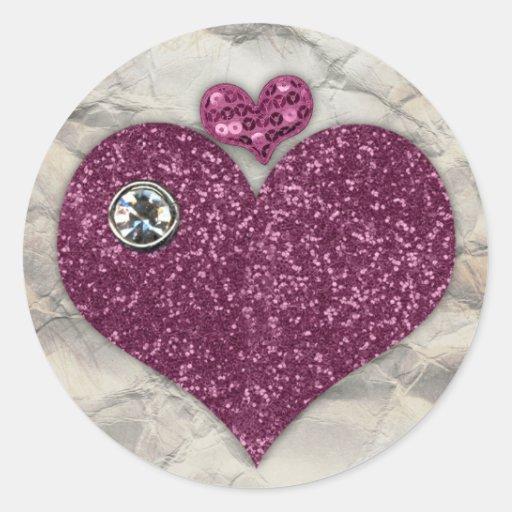 Pegatina de los corazones púrpuras de Bling