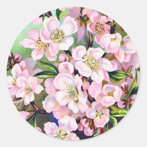 Pegatina de los flores de Apple del vintage