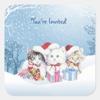 Pegatina de los gatitos de Santa del navidad