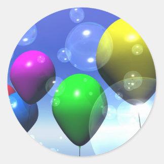 Pegatina de los globos y de las burbujas del fiest