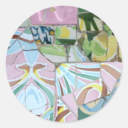 Pegatina de los mosaicos de Guell del parque