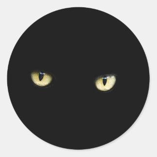 Pegatina de los ojos de gato negro de Halloween