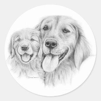 Pegatina de los perros perdigueros de oro