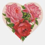 Pegatina de los rosas de la tarjeta del día de San