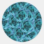 Pegatina de los rosas de los azules claros