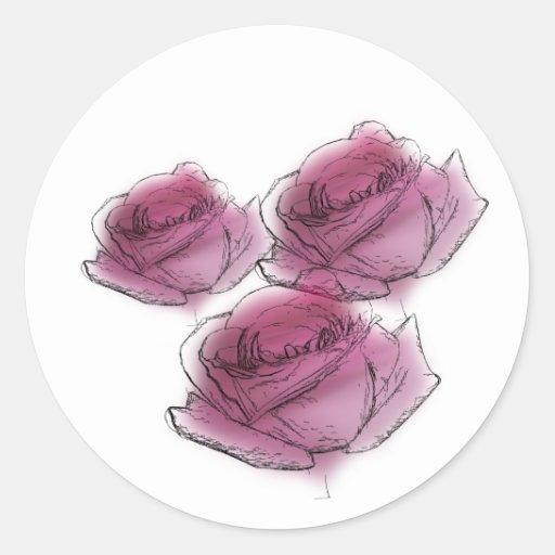 Pegatina de los rosas del color de agua