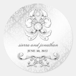 pegatina de lujo del damasco del diamante