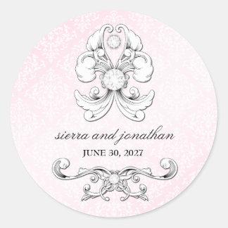 Pegatina de lujo del damasco del diamante rosado