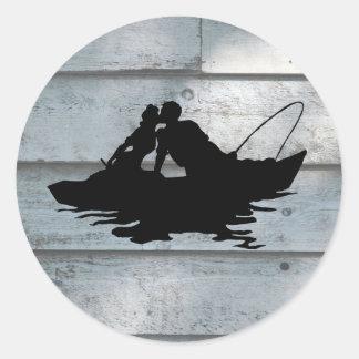Pegatina de madera de los amantes de la pesca del