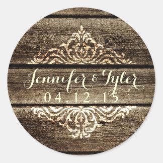 Pegatina de madera del boda del vintage del