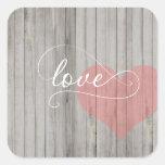 Pegatina de madera rústico del corazón del amor de
