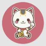 Pegatina de Maneki Neko (gato afortunado)