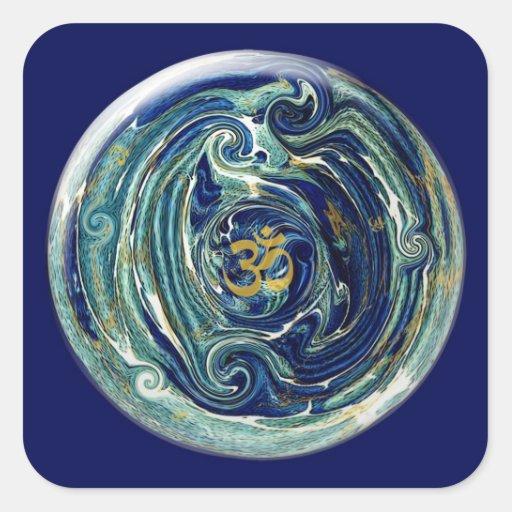 Pegatina de mármol de OM de la tierra