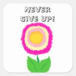 Pegatina de motivación de la flor rosada y