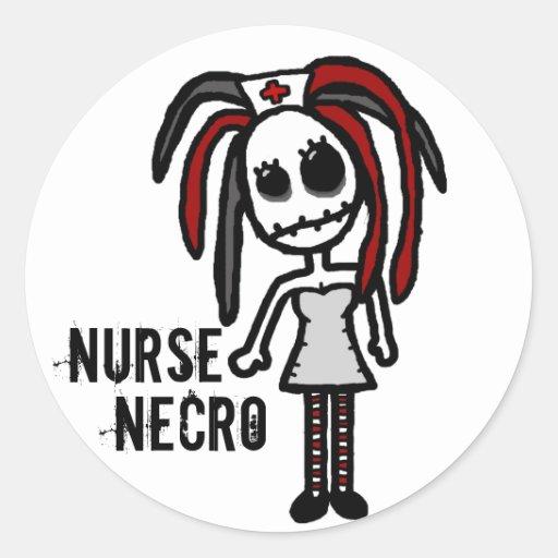 """""""Pegatina de Necro de la enfermera"""" Pegatina Redonda"""