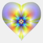 Pegatina de neón del corazón de la flor