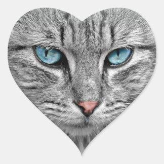 Pegatina de ojos azules del gato