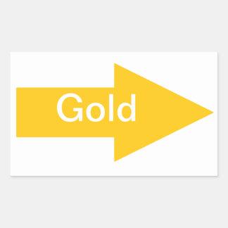 Pegatina de oro de la muestra de la flecha