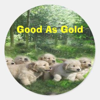 Pegatina de oro de los perritos