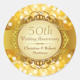 Pegatina de oro del aniversario de Bokeh 50 o