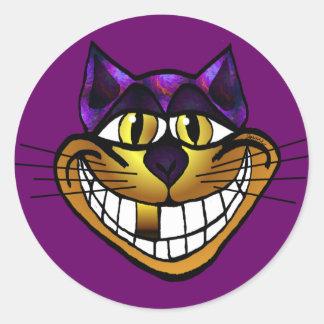 Pegatina de oro del gato de Cheshire