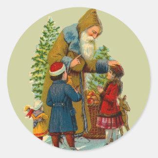 Pegatina de Papá Noel del vintage