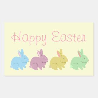 Pegatina de Pascua de cuatro conejos