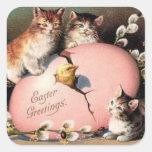 Pegatina de Pascua de los gatitos del vintage