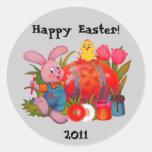 Pegatina de Pascua del conejito