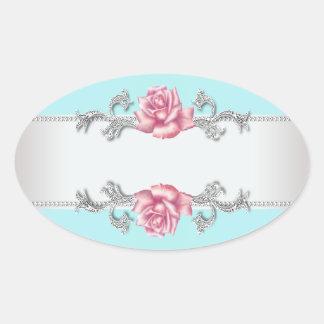 Pegatina de plata color de rosa rosado azul del